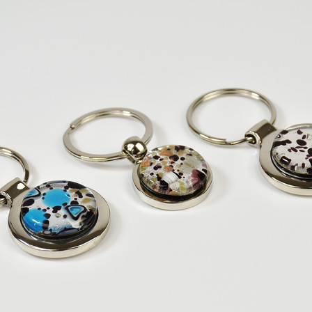 key holders with silver leaf