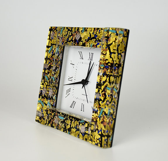 MURANO GLASS ALARM CLOCK 12X12 CM, GOLD FOIL AND BLACK GLASS