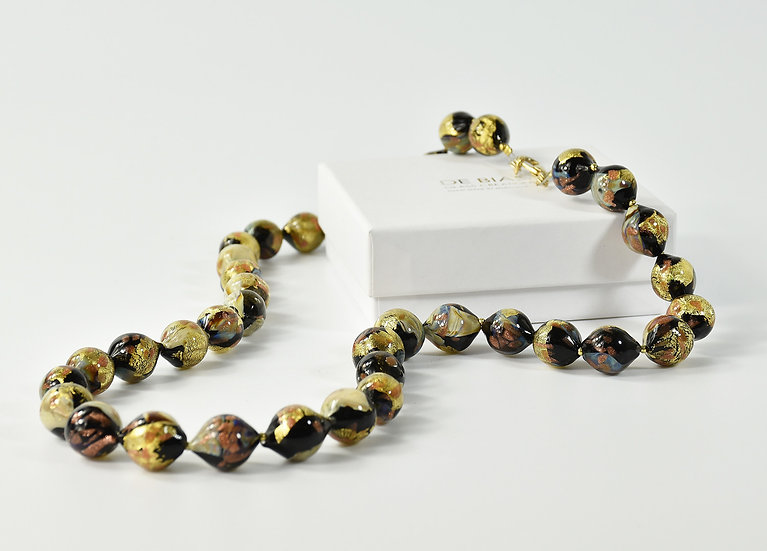 MURANO GLASS NECKLACE CALCHEDONY OVAL BEADS