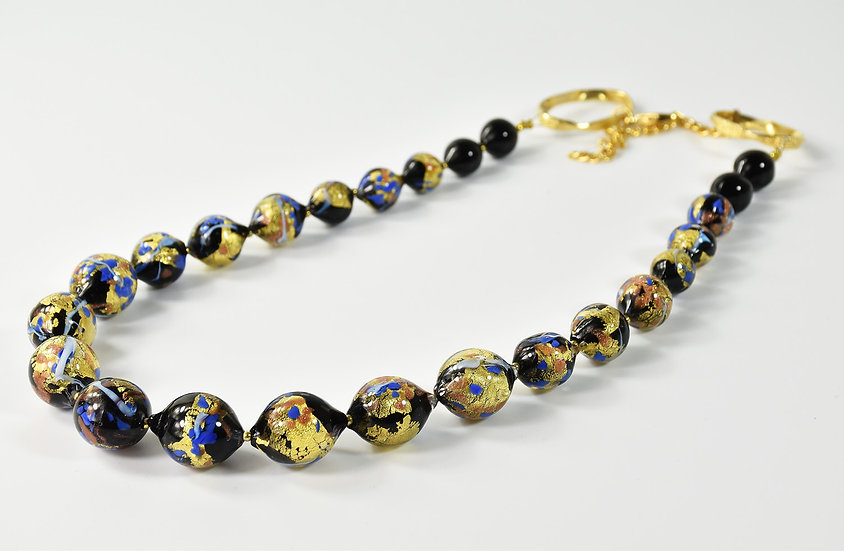 MURANO GLASS NECKLACE BLACK/BLUE  AND GOLD FOIL