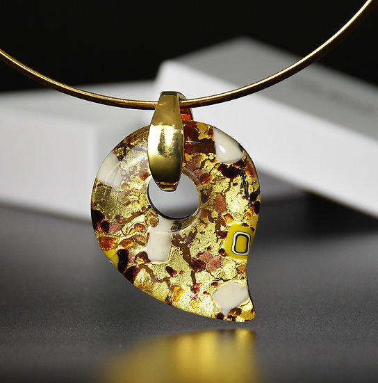 MURANO GLASS PENDANT AMBER GLASS AND GOLD 5.5X4 CM