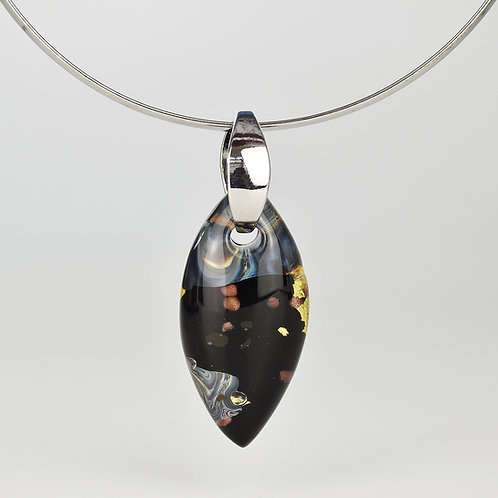 MURANO GLASS PENDANT MADE WITH MULTICOLORED GLASS AND GOLD FOIL