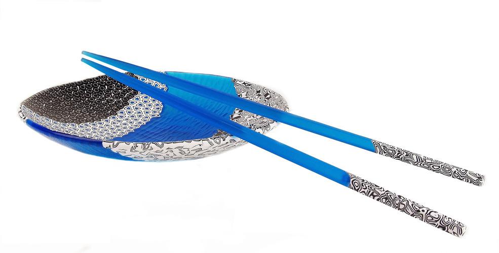 Plate in Murrina Glass and Chopsticks