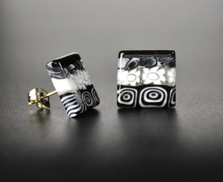 EARRINGS SQUARE SHAPE, SIDE 15 mm, MADE WITH BLACK AND WHITE MURRINE