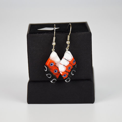 MURANO GLASS  EARRINGS, RED AND WHITE, RHOMBUS SHAPED