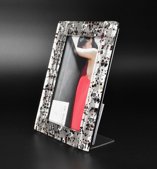 MEDIUM PHOTO FRAME 14*19 CM, SILVER AND BLACK/WHITE MURRINE