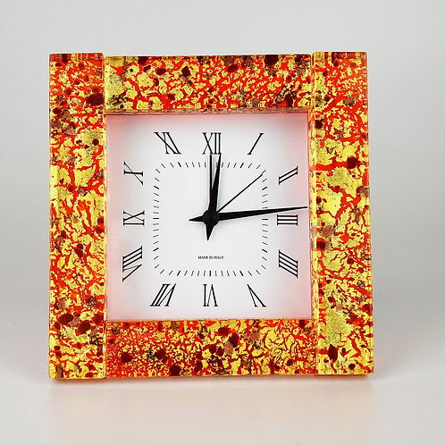 MURANO GLASS Clock alarm  with  gold foil and red glass