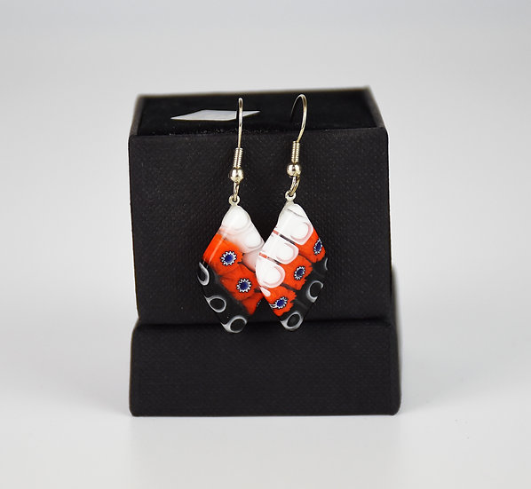 MURANO GLASS EARRINGS RED AND B/W MURRINE