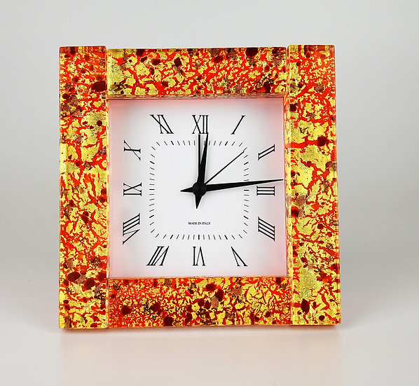 MURANO GLASS ALARM CLOCK RED GLASS AND GOLD FOIL