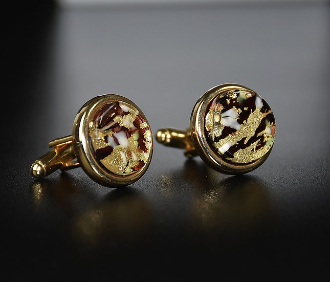 MURANO GLASS CUFFLINKS GOLD FOIL, GILDED SPECKLES, 18 MM.