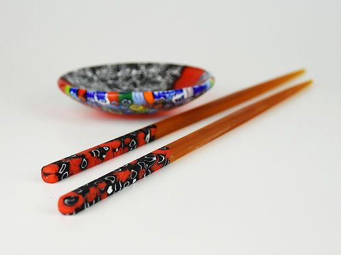 MURANO GLASS CHOPSTICK RED AMBER