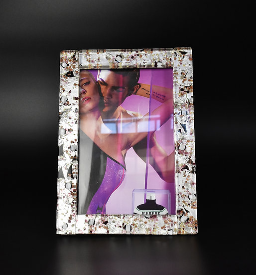 MURANO GLASS PHOTO FRAME 16x22 PURPLE GLASS AND SILVER