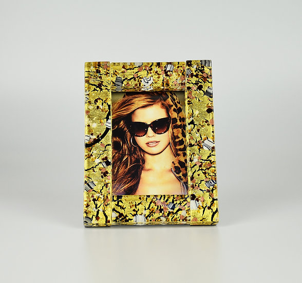 MURANO GLASS PHOTO FRAME 10X13 CM, BLACK AND GOLD