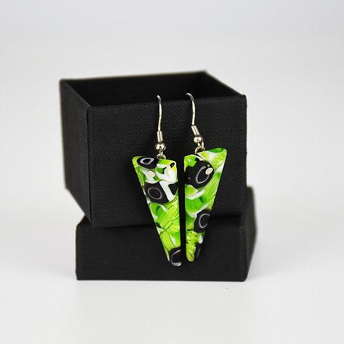 MURANO GLASS EARRINGS  WITH GREEN MURRINA  AND TRIANGULAR SHAPE