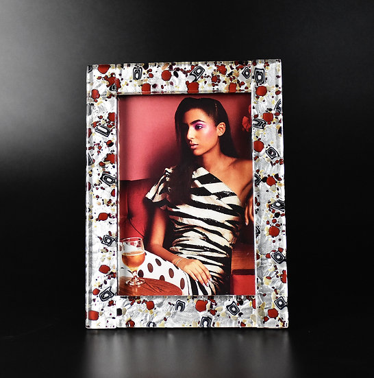 MURANO GLASS PHOTO FRAME 14X19 CM. SILVER FOIL AND RED GLASS
