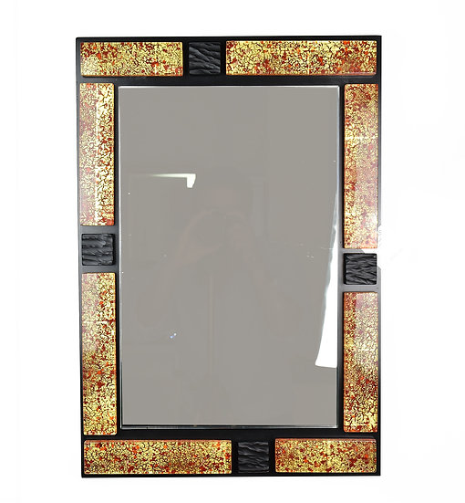 MURANO GLASS MIRROR RED ANDD GOLD FOIL 58X42 CM.