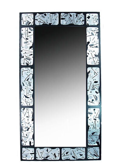 MURANO GLASS MIRROR BLACK/WHITE 125X65 CM.