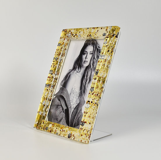 MURANO GLASS PHOTO FRAME 17X21 CM. IVORY AND GOLD