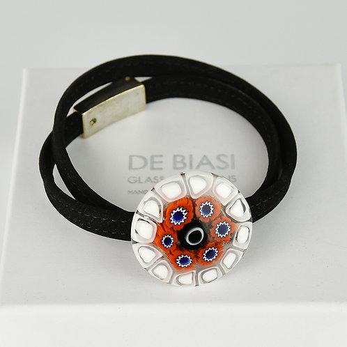 Murano glass bracelet with red and white murrine and  velvet string