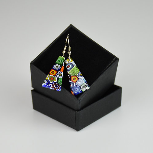 MURANO GLASS EARRINGS MADE WITH MULTICOLOUR MURRINE AND WITH TRIANGULAR SHAPE