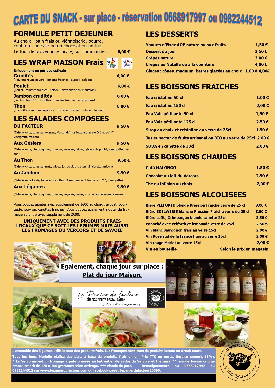 Carte menu snack A3 doube 2020 sur place