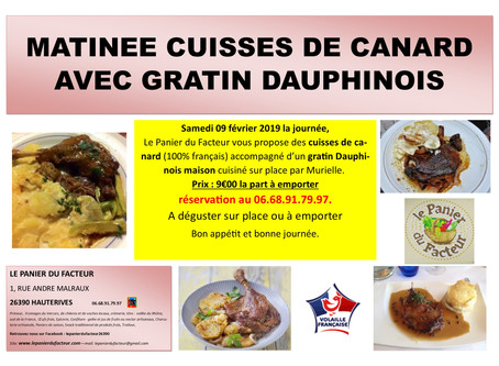 Matinée Cuisses de Canard Gratin Dauphinois