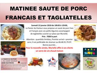 Matinée sauté de porc Français et tagliatelles
