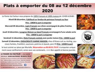 Plats à emporter du 08 au 12 décembre 2020