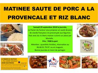Matinée Sauté de Porc Français à la Provençale et riz