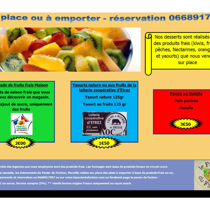 Carte menu snack en image P7