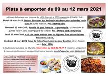 Plats à emporter du 09 au 12 mars 2021