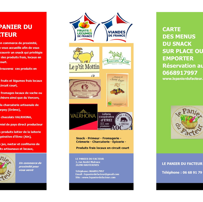 Carte menu snack en image P1
