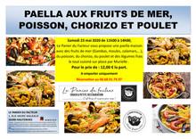 PAELLA AUX FRUITS DE MER, POISSON, CHORIZO ET POULET