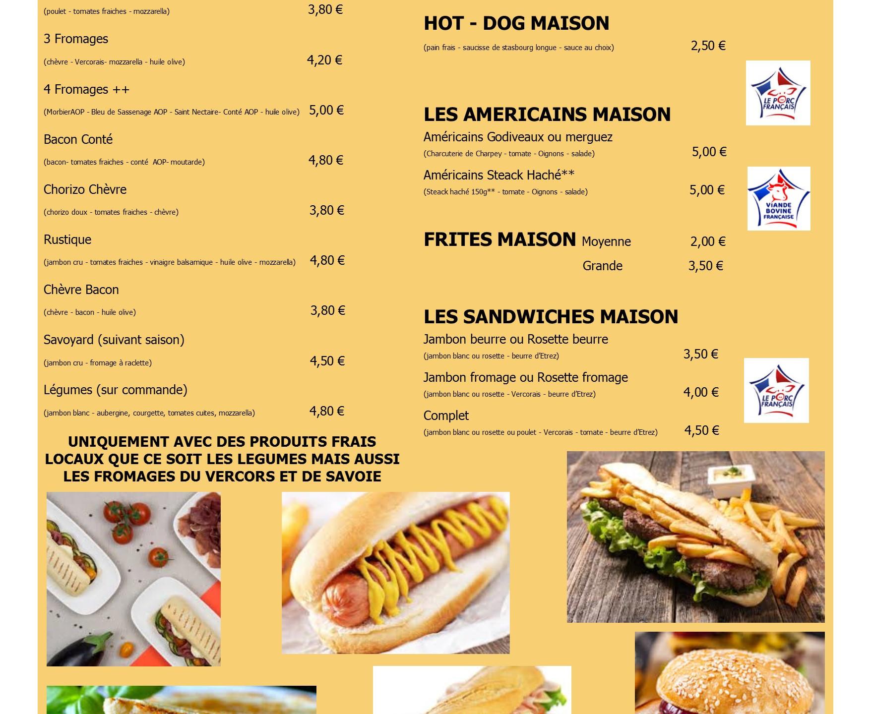 Carte menu snack A3 double en image 1 su