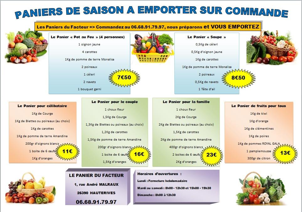 Toujours disponible, les paniers de saison, vous appeler, nous préparons et vous récupérez le panier à l'heure que vous avez choisie. Des produits frais, français et de qualité.