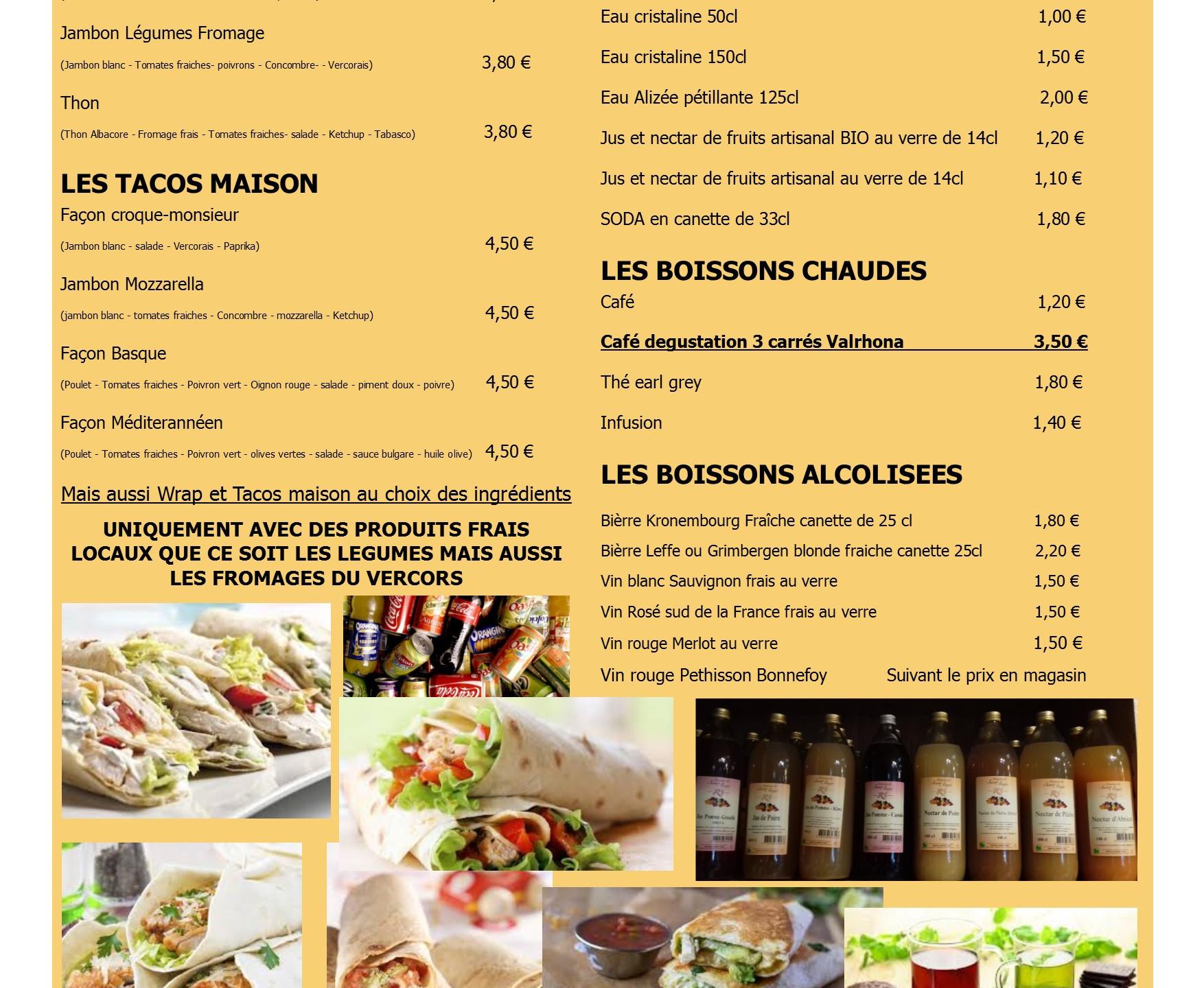 Carte menu snack A3 double en image 2 su