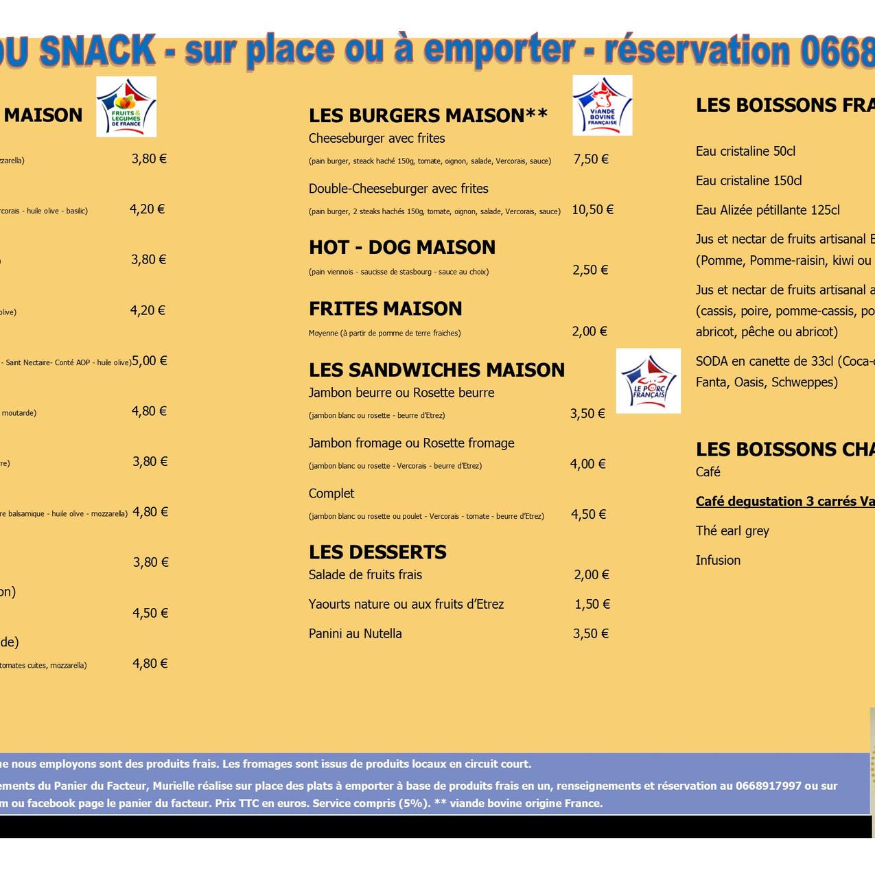 Carte menu snack A3