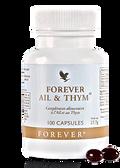 Forever Ail et Thym REF 65 - Aloe Vera Passion. C'est le combiné de deux extraits de plantes : ail et thym. Ce complément alimentaire est idéal pour améliorer le confort digestif. Les caspules sont garanties sans odeur. Le flacon contient 100 capsules.