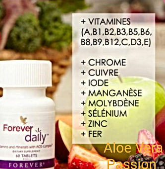 Avec le complément alimentaire Forever Daily, c'est un complexe AOS (Aloe Oligo Saccharides) qui associe 5555 ingrédients de vitamines, minéraux et des phytonutriments