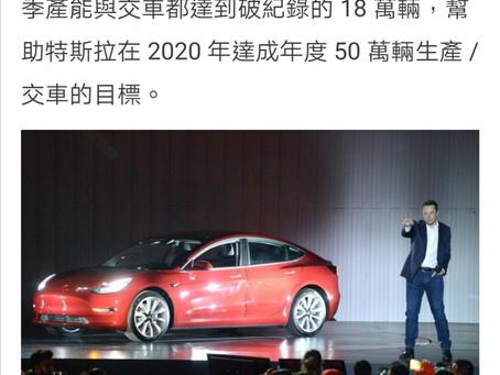 Tesla 2020 Q4 50萬台交車目標達標 .