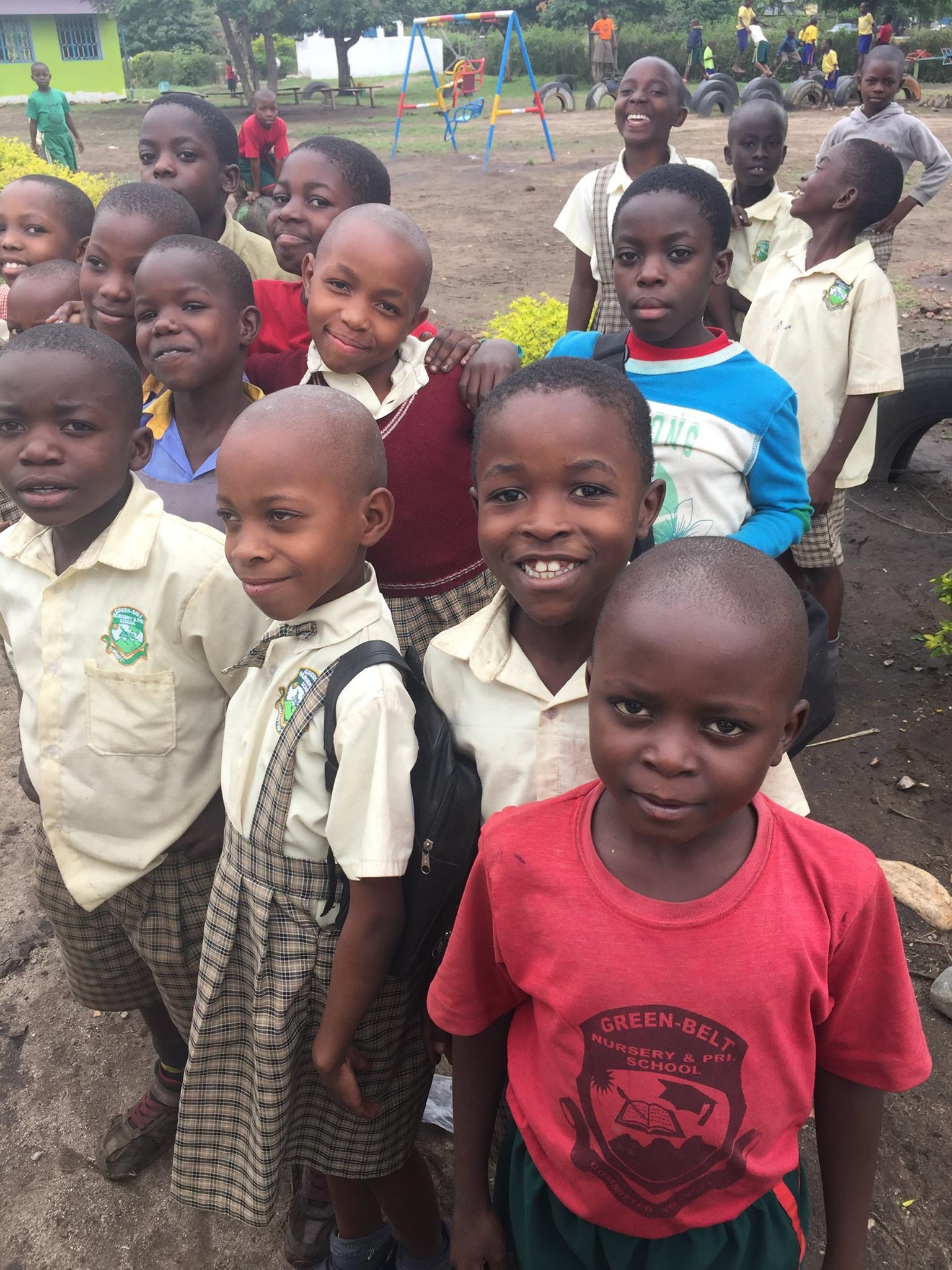 group of Ugandan children at school