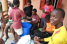 Ugandan kids sorting beans
