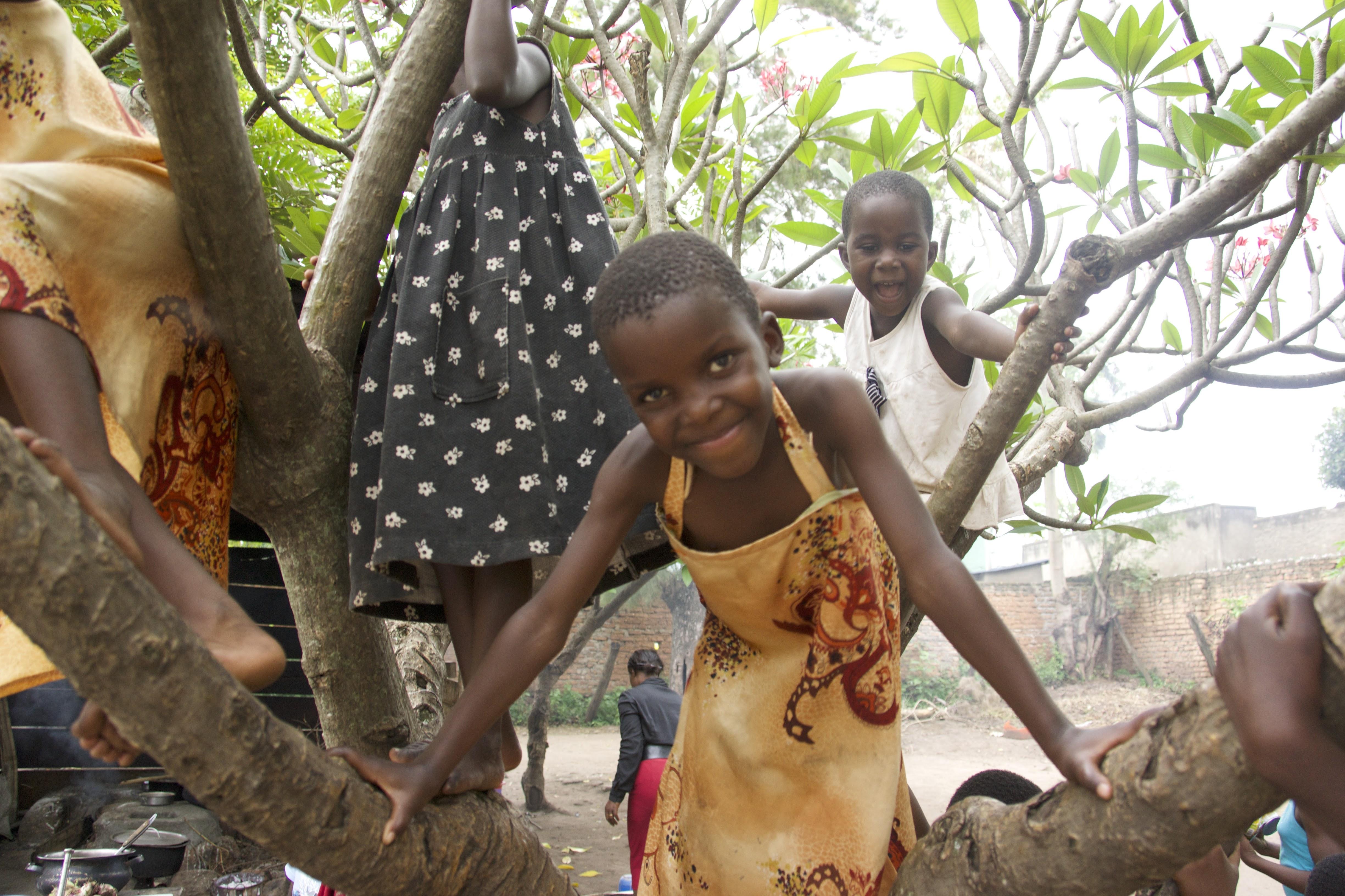 Ugandan girls in a tree