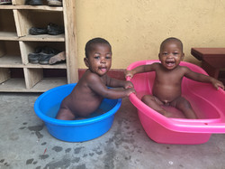 Ugandan babies bathing