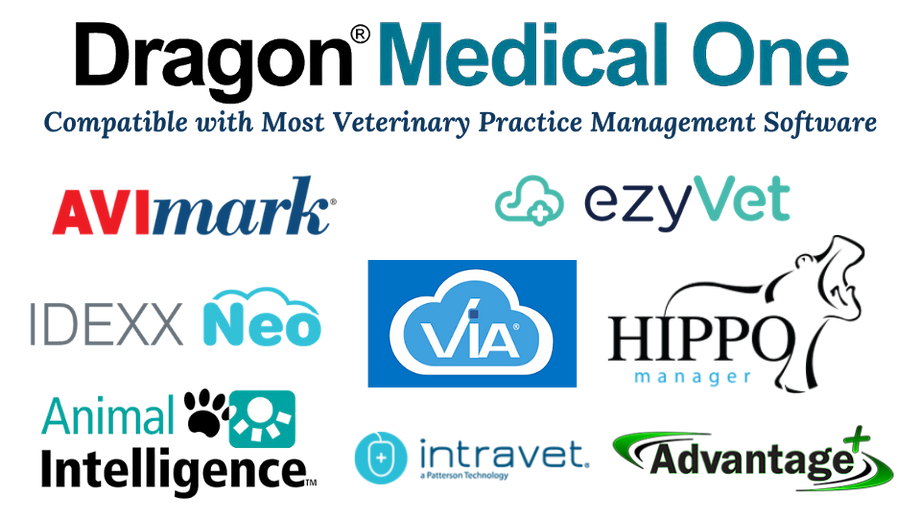 Dragon Medical One is compatible with most veterinary practice management software