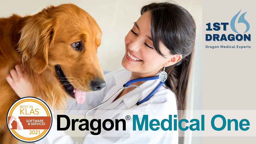 Award Winning Dragon Medical One speech recognition helps veterinary practices focus more time on patients and less time on documentation.