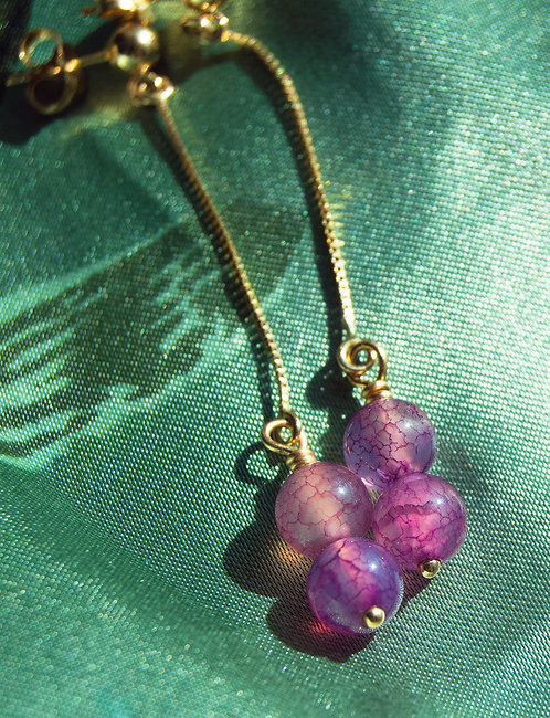 Dragon Vein Agate 14k Gold Wire Wrapped Earrings