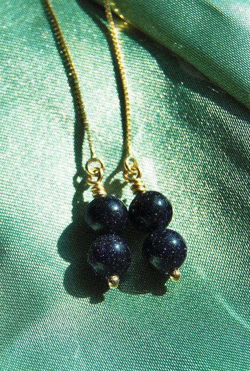Genuine Blue Goldstone 14k Gold Wire Wrapped Earrings