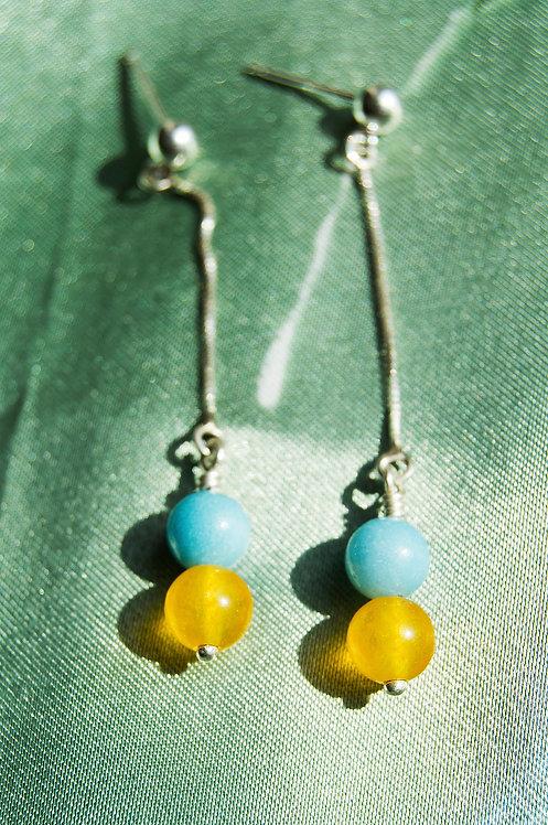 Genuine Larimar and Yellow Jade Sterling Silver Earrings