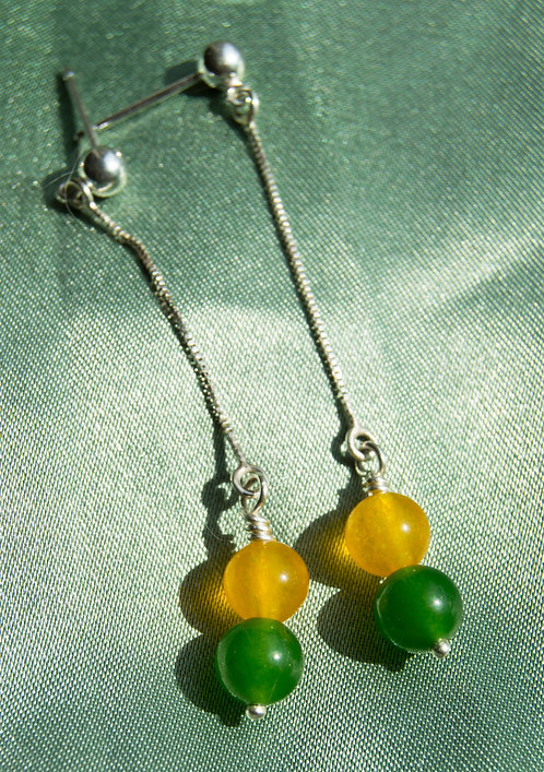 Genuine Green and Yellow Jade Sterling Silver Earrings